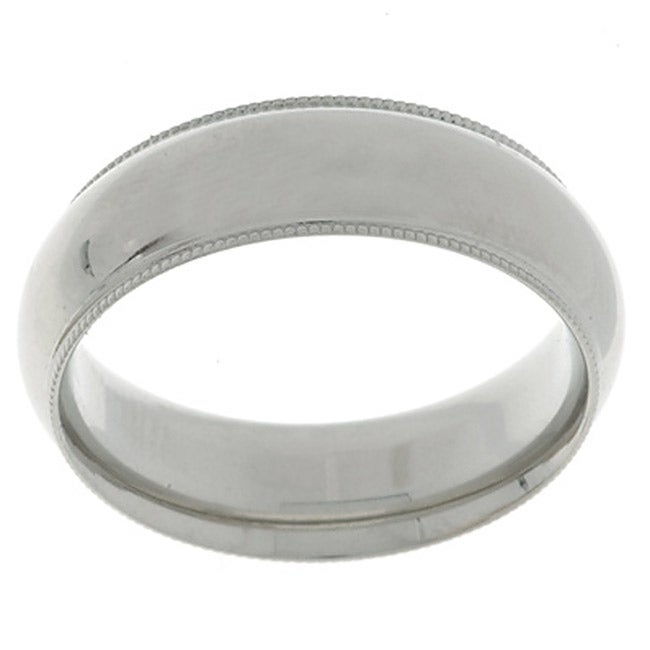 10k White Gold Men's Milligrain 6-mm Wedding Band