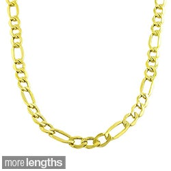 Fremada 10k Yellow Gold 7.4mm Figaro Necklace (20-24 inches)