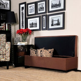 Portfolio Blane Dark Brown Microfiber Wall Hugger Bench Trunk Storage Ottoman