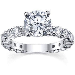 14k White Gold 3 1/6ct TDW Round Solitaire Diamond Ring (G-H, SI1-SI2)