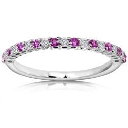 Annello 14k White Gold Pink Sapphire and 1/10ct TDW Diamond Band (H-I, I1-I2)