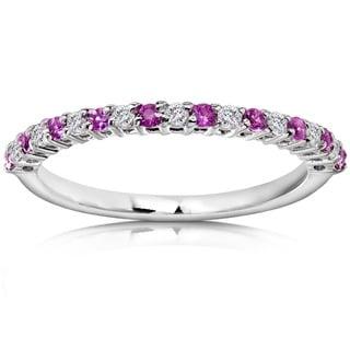 Annello 14k White Gold Pink Sapphire and 1/10ct TDW Diamond Band (H-I, I1-I2)