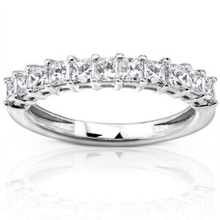 Annello 14k White Gold 3/4ct TDW Princess Diamond Wedding Band (H-I, I1-I2)