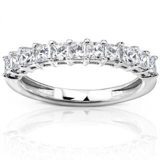 Annello 14k White Gold 3/4ct TDW Princess Diamond Wedding Band (H-I, I1-I2)