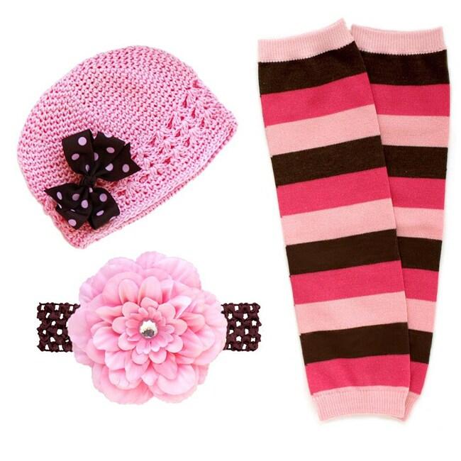 Headbandz Pink/ Brown 5-piece Baby Accessory Pack
