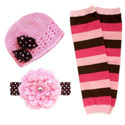 Headbandz Pink/ Brown 5-piece Baby Accessory Pack