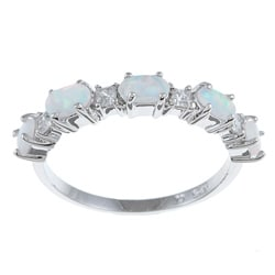 La Preciosa Sterling Silver Created Opal and Cubic Zirconia Ring