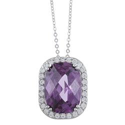 La Preciosa Sterling Silver Purple and Clear Cubic Zirconia Necklace