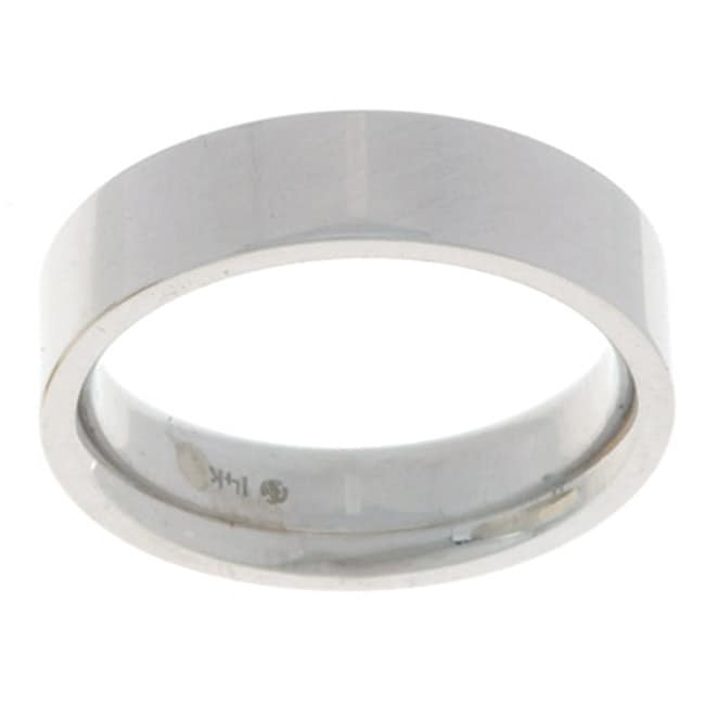 14k White Gold Men s Flat 5 mm Wedding Band Overstock Shopping Big Di