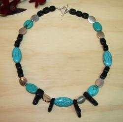 Silverplated 'Perfect Match' Turquoise and Coral Necklace