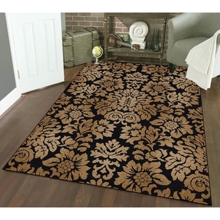 Amalfi Black/ Beige Damask Area Rug (7'9 x 11')