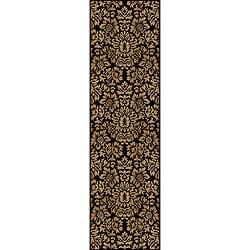 Amalfi Black/ Beige Damask Area Rug (2'2 x 7'7)