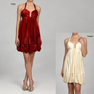 Issue New York Women's Halter V-neck Bubble Hem Cocktail Dress