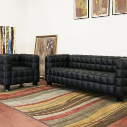 Arriga 2-piece Black Leather Modern Sofa Set