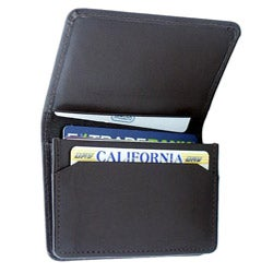 Leatherbay Dark Brown Leather Flip-Top Card Holder