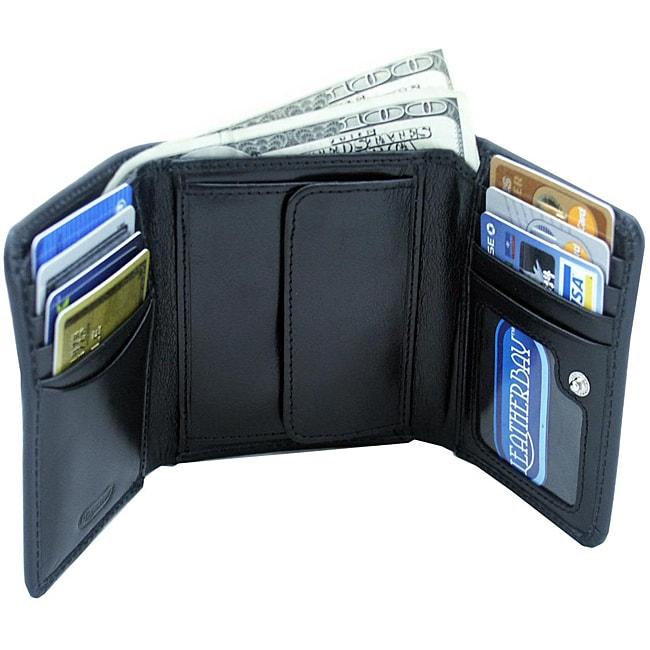 Leatherbay Black Leather Tri-fold Wallet