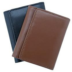 Leatherbay Black Leather Tri-fold Wallet