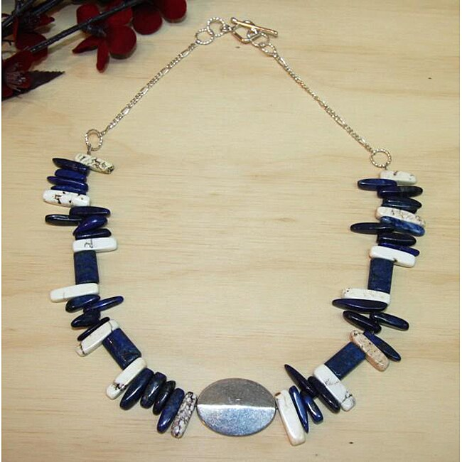 Silverplated 'Pride of the Nation' Lapis and Turquoise Necklace