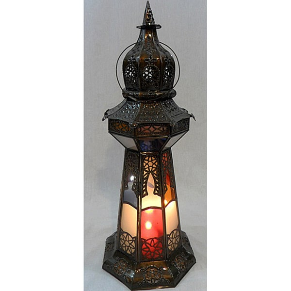 Bronze Stained Glass Princess Lamp (Morocco)