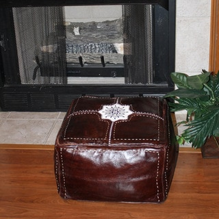 Leather Chocolate Baja Ottoman (Morocco)