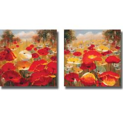 Lucas Santini 'Meadow Poppies III and IV' 2-piece Canvas Art Set