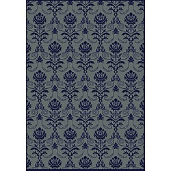 Impressions Navy Abstract Rug (7'9 x 11')