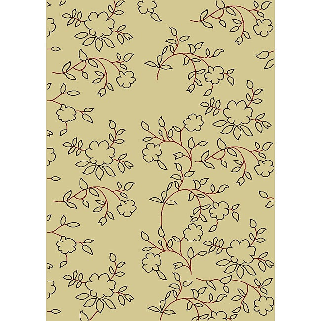 Admire Home Living Impressions Ivory Abstract Rug (7'9 x 11')