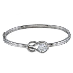 La Preciosa Sterling Silver CZ 'Love Knot' Bangle