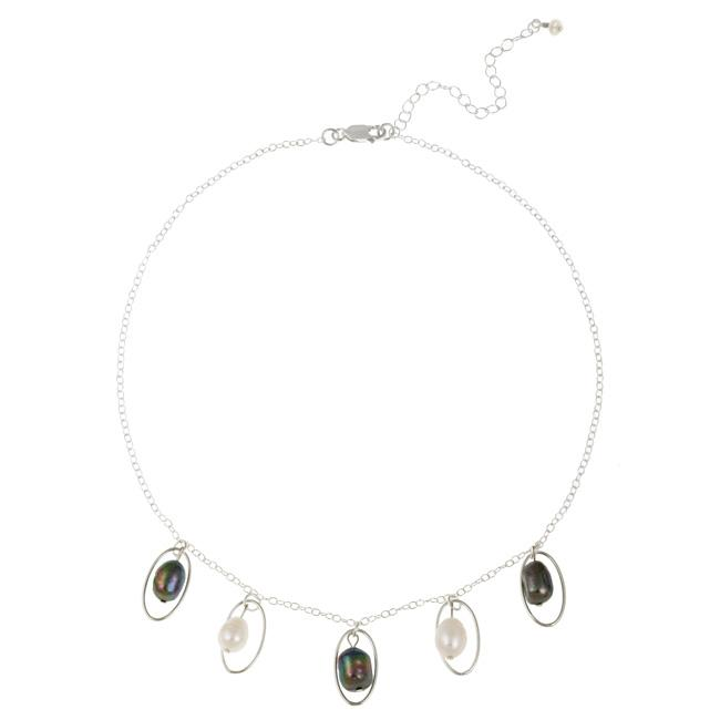 Glitzy Rocks Sterling Silver Peacock and White Freshwater Pearl Necklace (8-9 mm)
