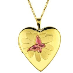 14k Gold and Sterling Silver Butterfly and Flower Heart Locket Necklace