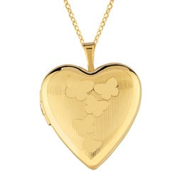 14k Gold and Sterling Silver Butterfly Heart Locket Necklace