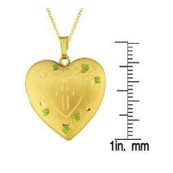 14k Gold and Sterling Silver Cross and Swirl Heart Locket Necklace