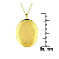 Sterling Silver/ 14k Gold Oval Locket Necklace