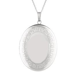 Sterling Silver 'Greek Key' Oval Locket Necklace