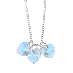 Crystale Created Stone Heart Cluster Necklace