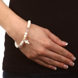 Crystale Silverplated Mother of Pearl and Crystal Cross Bracelet