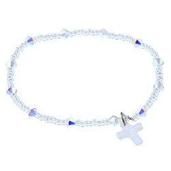 Crystale Silver Seed Bead Crystal Cross Stretch Bracelet