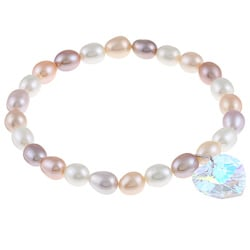 Crystale Freshwater Pearl and Crystal Heart Stretch Bracelet