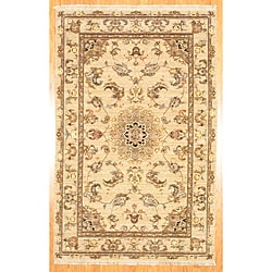 """Traditional Afghan Hand-Knotted Beige Oushak Wool Rug (5'9"""" x 8'9"""")"""