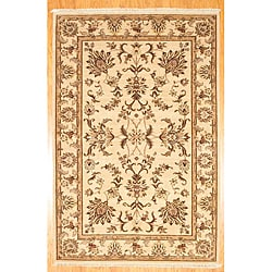 Herat Oriental Afghan Hand-Knotted Oushak Beige/ Lt. Brown Wool Rug (5'9 x 8'9)
