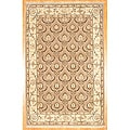 Afghan Hand-knotted Light Brown/ Green Oushak Wool Rug (5'9 x 8'9)