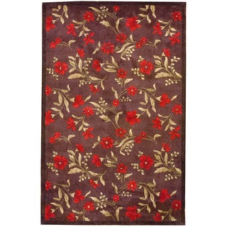 Herat Oriental Asian Hand-tufted Contemporary Red/ Dark Brown Wool Rug (4'9 x 7'7)