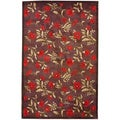 Asian Hand-tufted Red/ Dark Brown Wool Rug (4'9 x 7'7)