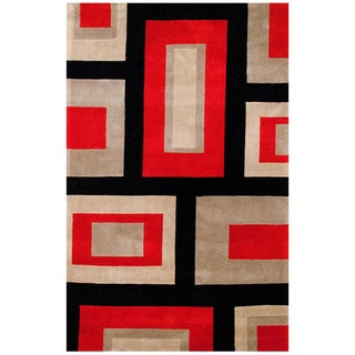 Asian Hand-tufted Red/ Black Wool Rug (5' x 7'8)