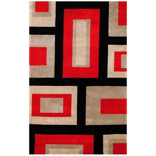 Herat Oriental Asian Hand-tufted Contemporary Red/ Black Wool Rug (5' x 7'8)