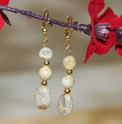 Goldplated Sea of Tranquility African Blue Opal Earrings