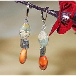 Susen Foster Silverplated Opal 'African Safari' Earrings