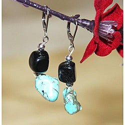 Susen Foster Silverplated Turquoise 'Desert Night' Earrings