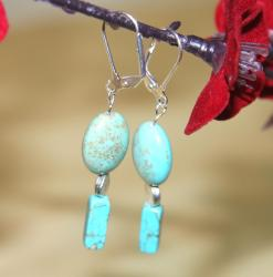 Silverplated Blue Skies Turquoise Earrings