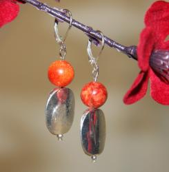 Silverplated Kiss of Spring Sponge Coral Earrings